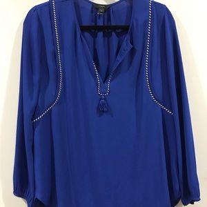 J. Crew blue tassel blouse